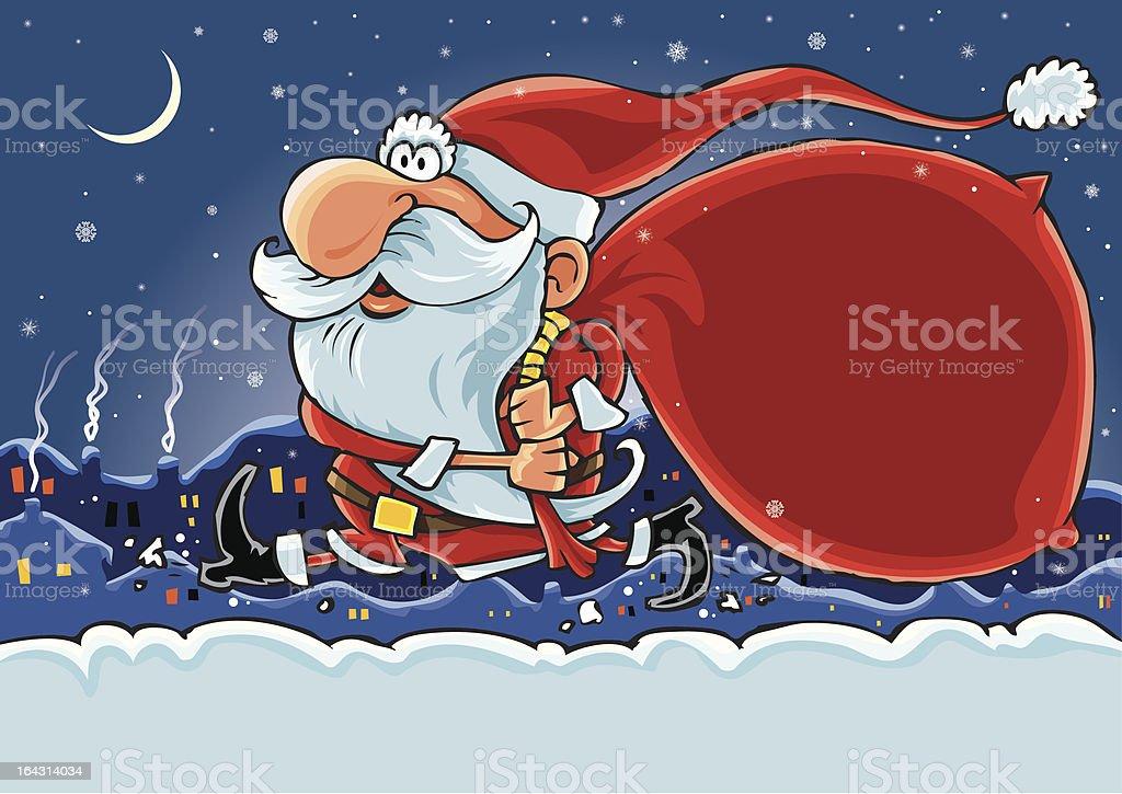 Hurry Santa royalty-free stock vector art