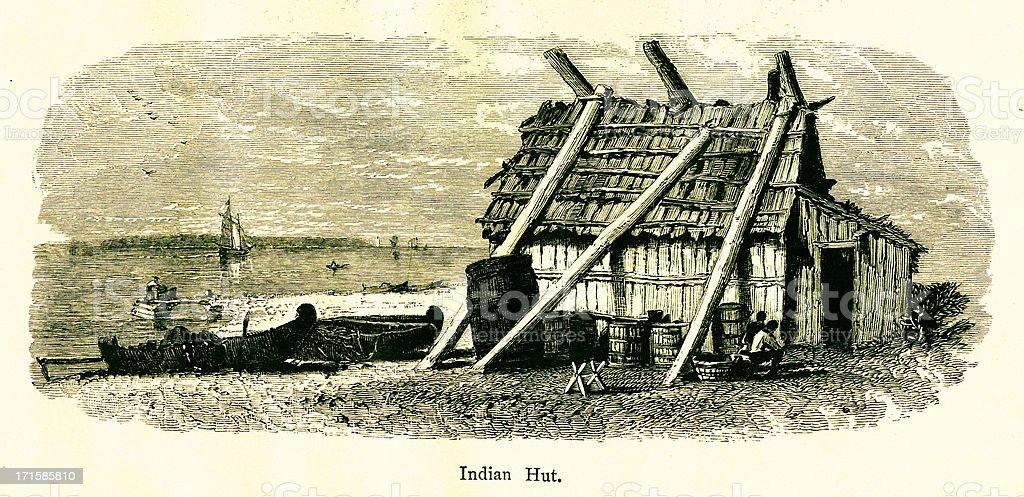 Hut of Native Americans, Mackinac Island, Michigan, wood engravi royalty-free stock vector art