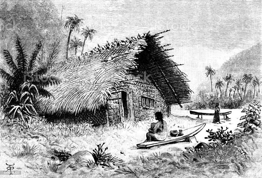 Hut on Bora-Bora Island vector art illustration