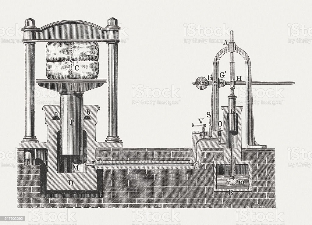 Hydraulic press, wood engraving, published in 1880 vector art illustration