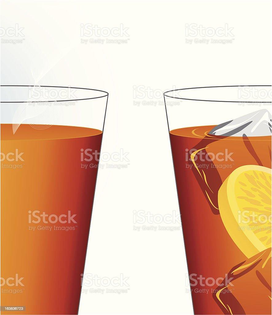 Ice and hot tea vector art illustration