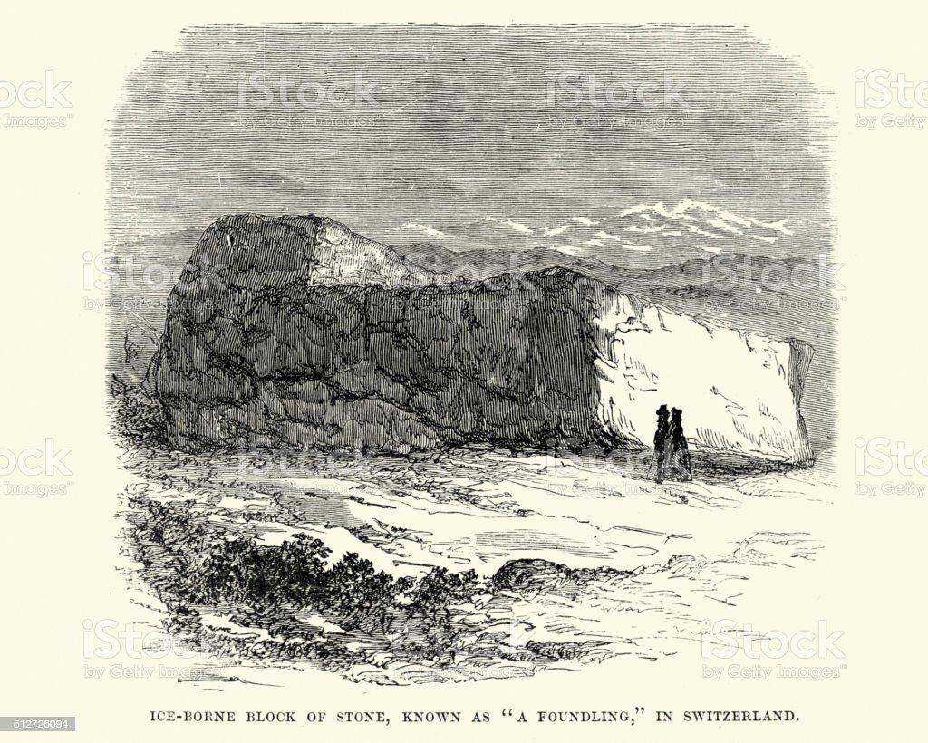Ice borne block of stone,Switzerland vector art illustration