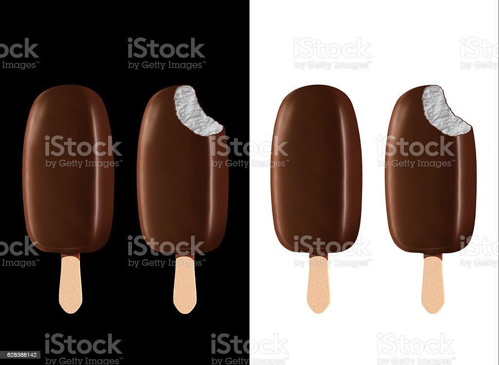 Ice Cream Bars on Black and White vector art illustration