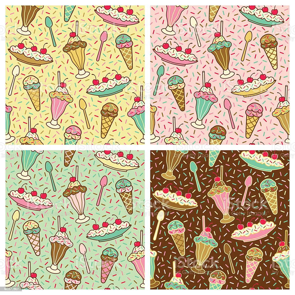 Ice Cream, Cherries and Sprinkles Pattern royalty-free stock vector art
