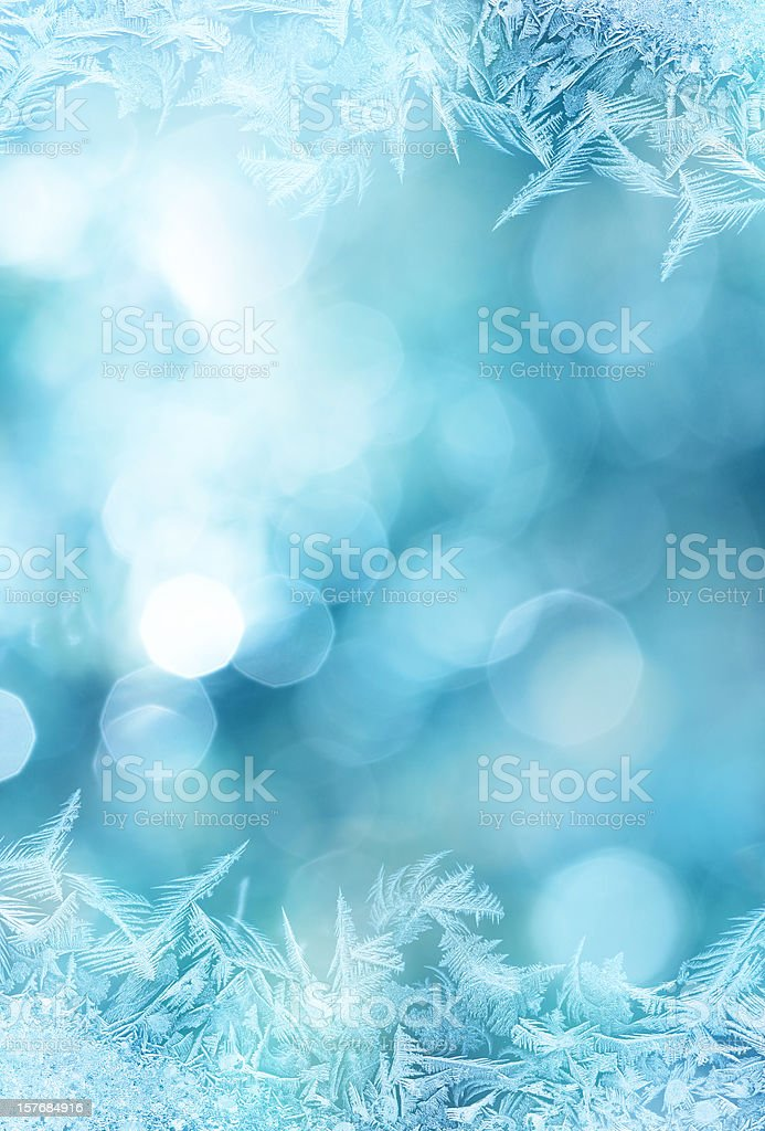 Ice flower frame on glass vector art illustration
