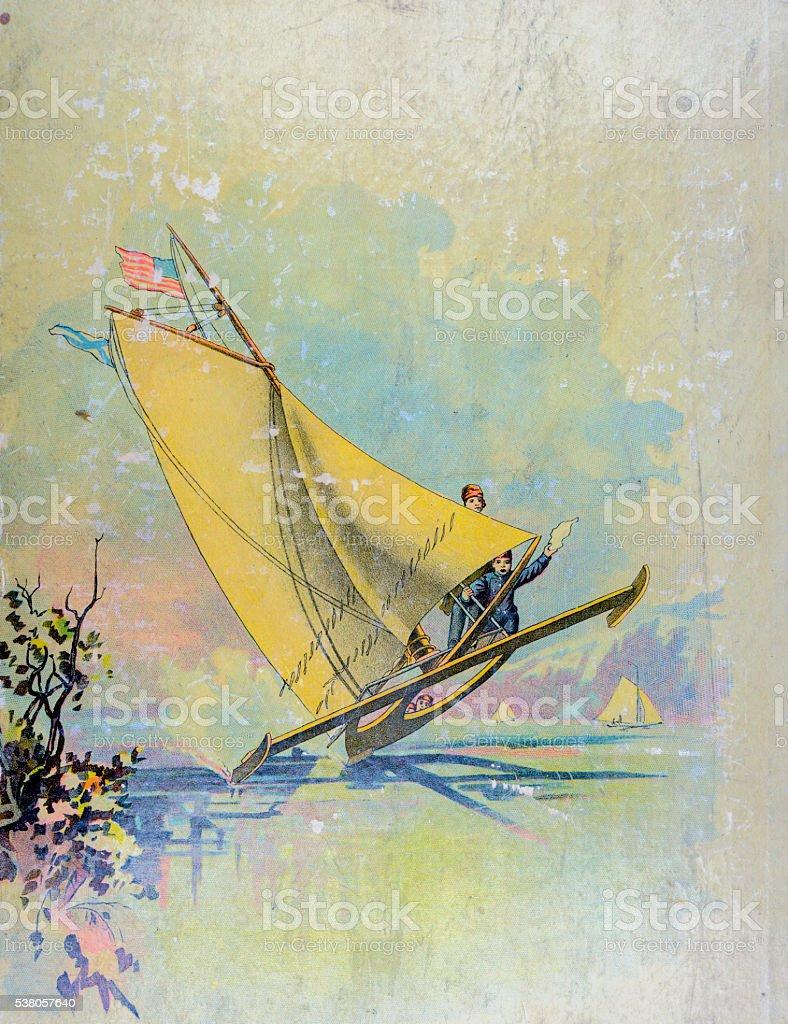 Ice Sailing vector art illustration