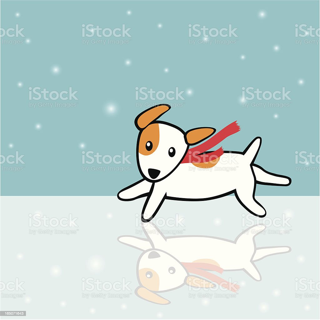 Ice skating Dog vector art illustration