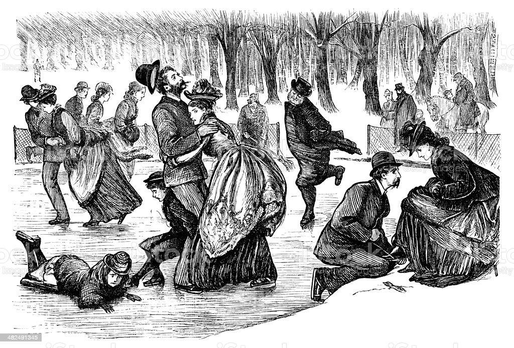 Ice skating in a Victorian park vector art illustration