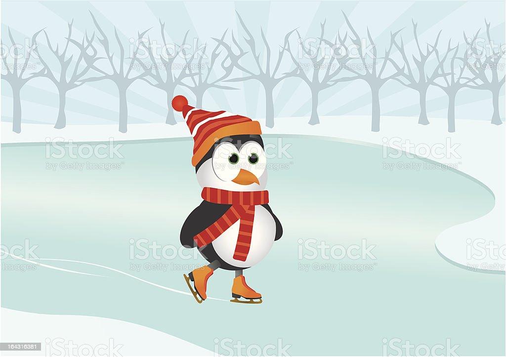 Ice Skating Penguin royalty-free stock vector art