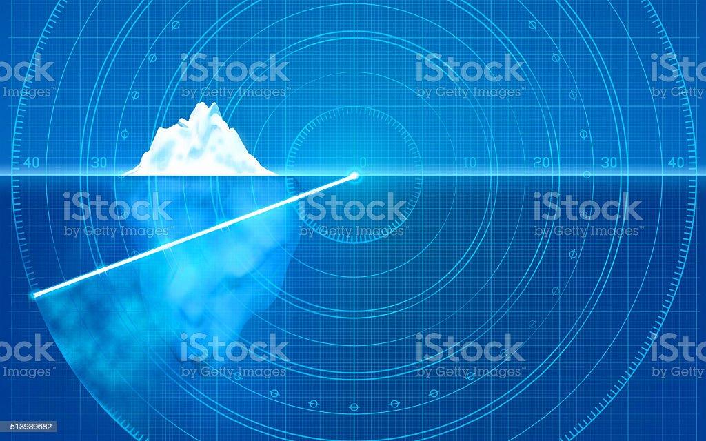 Iceberg on radar: prevent dangers, identify hidden problems, asses risks vector art illustration