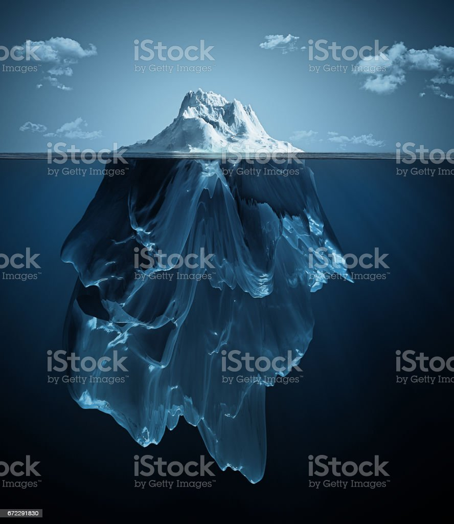 iceberg over and under the water vector art illustration