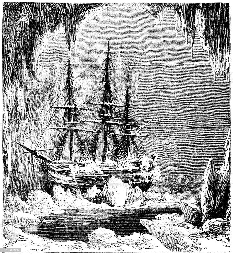Ice-bound ship in the Arctic (1875 illustration) royalty-free stock vector art