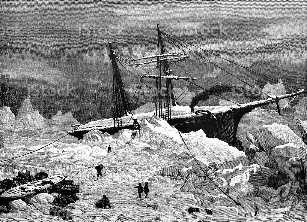 Ice-bound ship in the Arctic vector art illustration