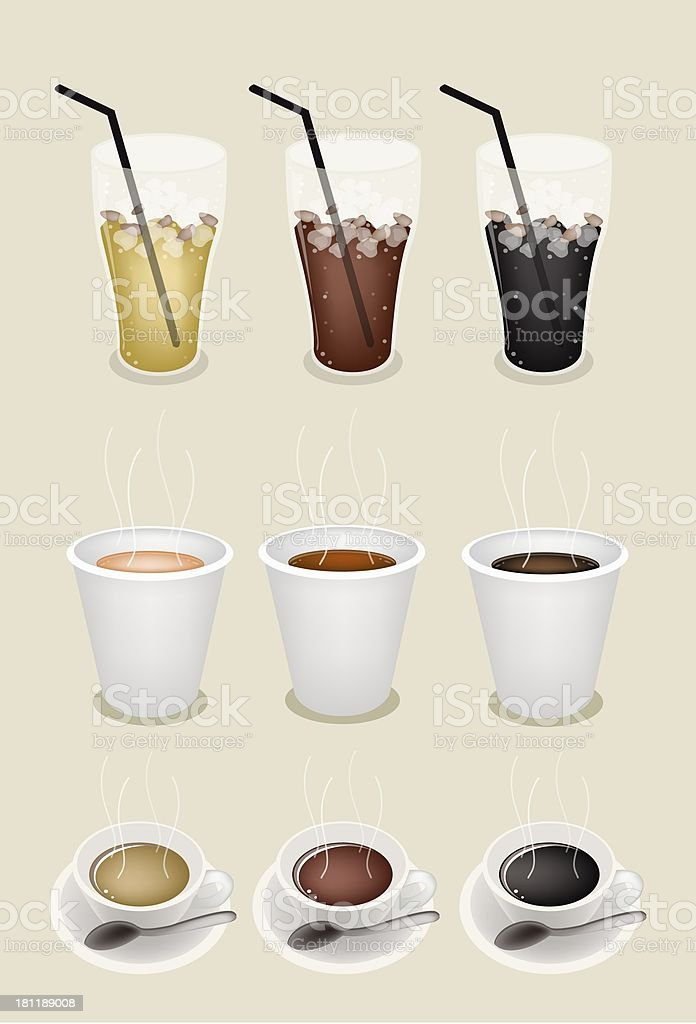 Iced and Hot Coffee  Takeaway vector art illustration