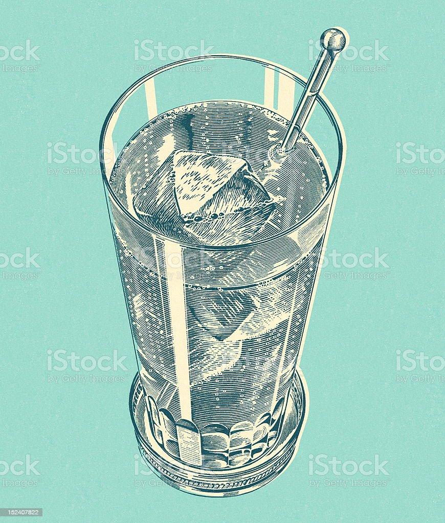 Iced Drink With Stir Stick vector art illustration