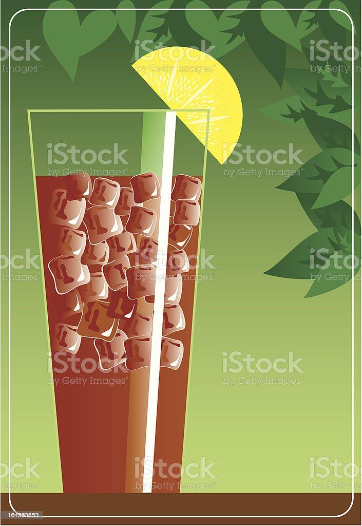 Iced Tea with Lemon vector art illustration