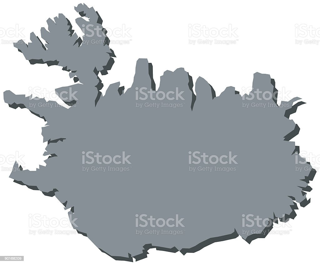 Iceland Europe Map royalty-free stock vector art