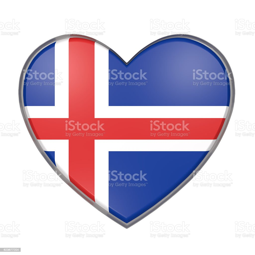 Iceland heart vector art illustration