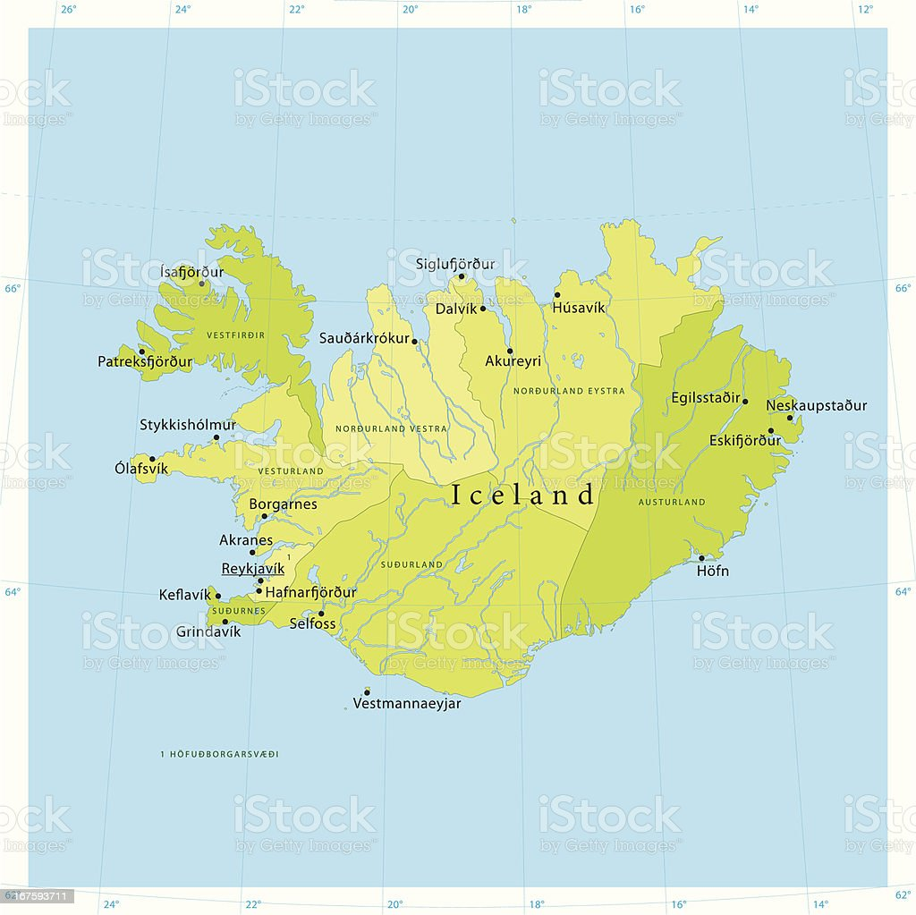 Iceland Vector Map royalty-free stock vector art