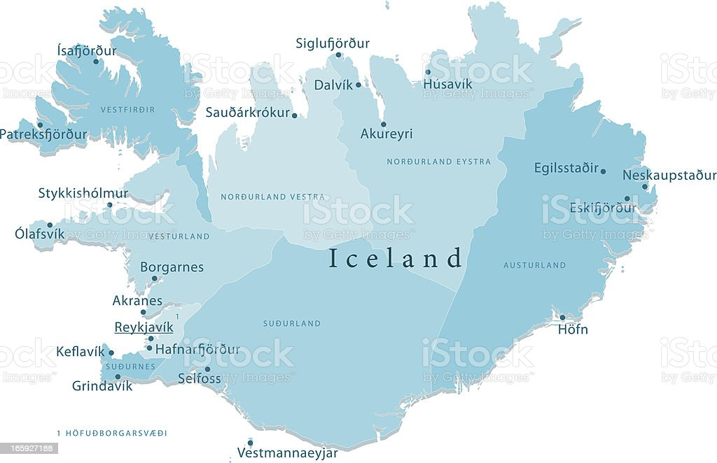 Iceland Vector Map Regions Isolated vector art illustration