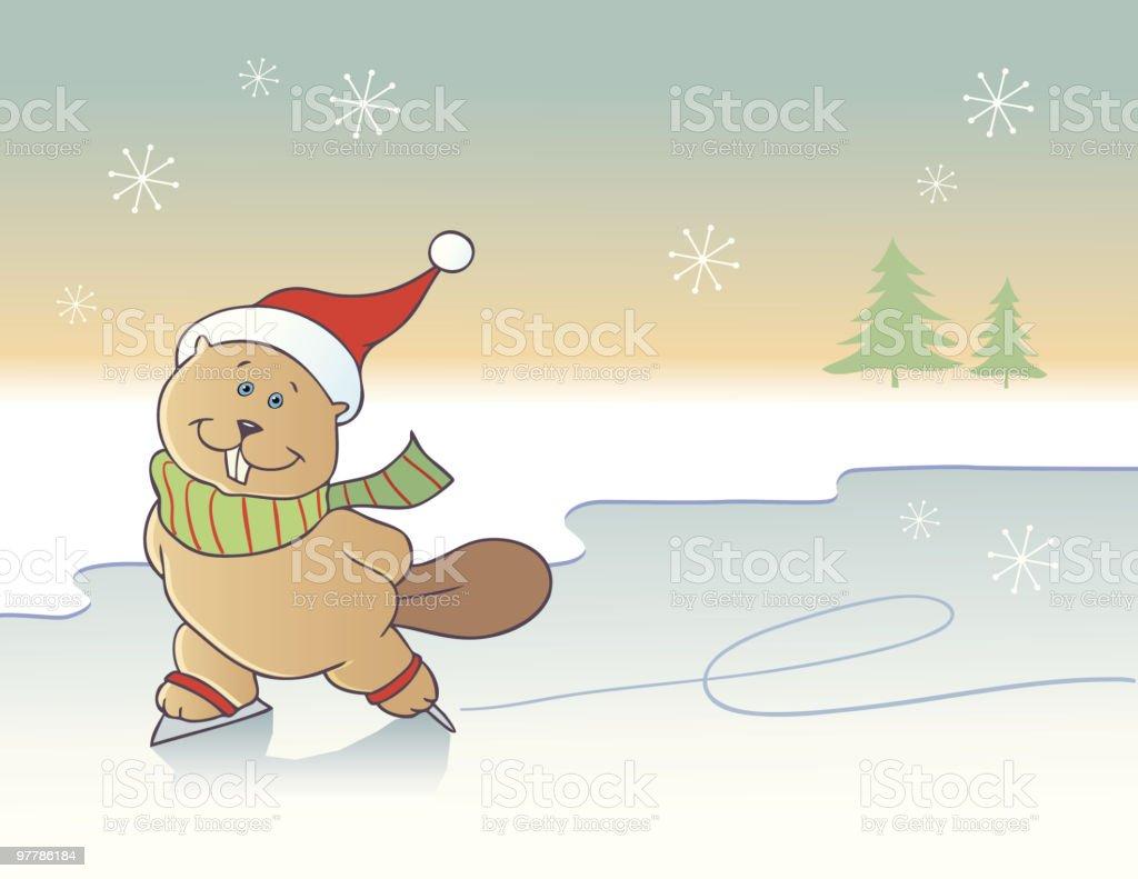 Ice-skating beaver background royalty-free stock vector art