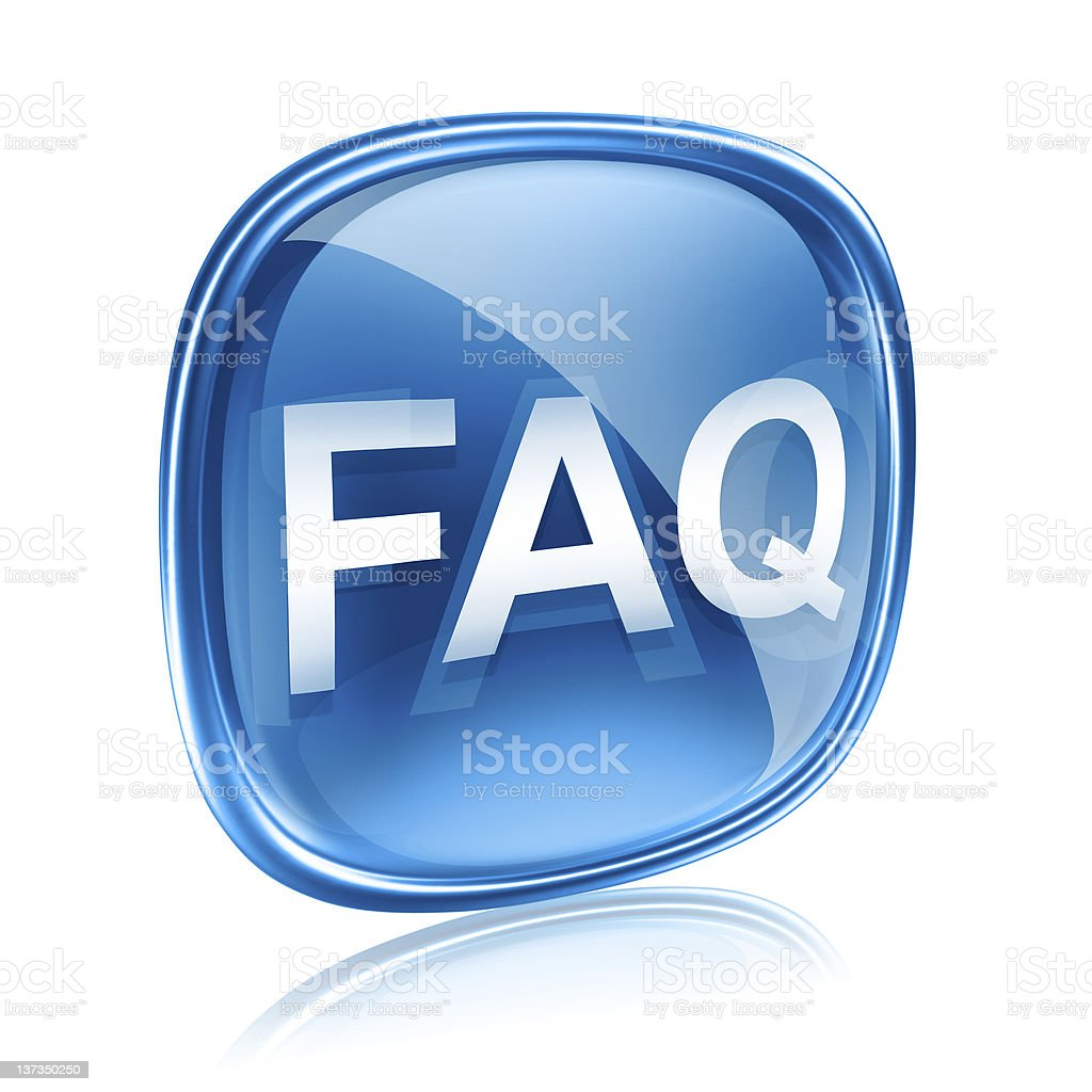 FAQ icon blue glass, isolated on white background royalty-free stock vector art