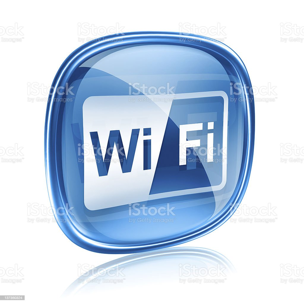 WI-FI icon blue glass, isolated on white background royalty-free stock vector art