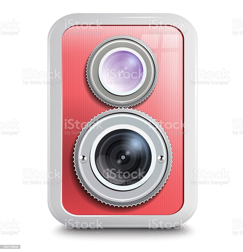 Icon , camera with two lenses, red case . vector art illustration