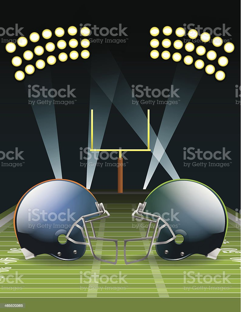 Icon for American football championship showing two helmets vector art illustration