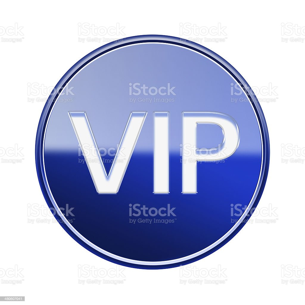 VIP icon glossy blue, isolated on white background royalty-free stock vector art