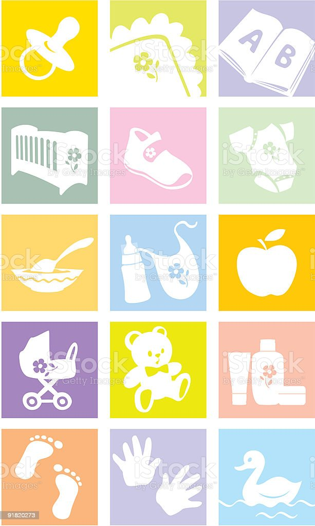 Icon set - baby goods, items. Illustration royalty-free stock vector art