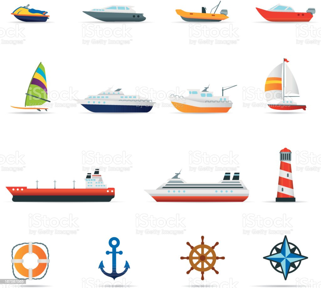 Icon Set, boats and ships Color vector art illustration