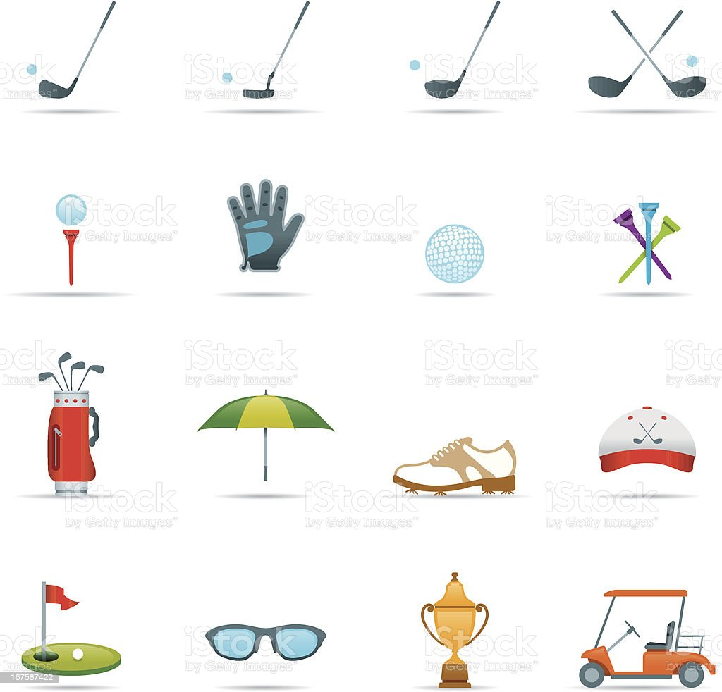 Icon Set, Golf Color vector art illustration