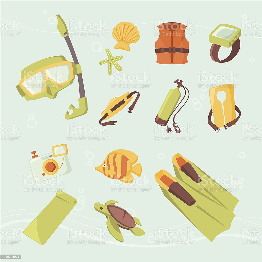 Icon set: Snorkeling, Scuba diving, and underwater fun vector art illustration