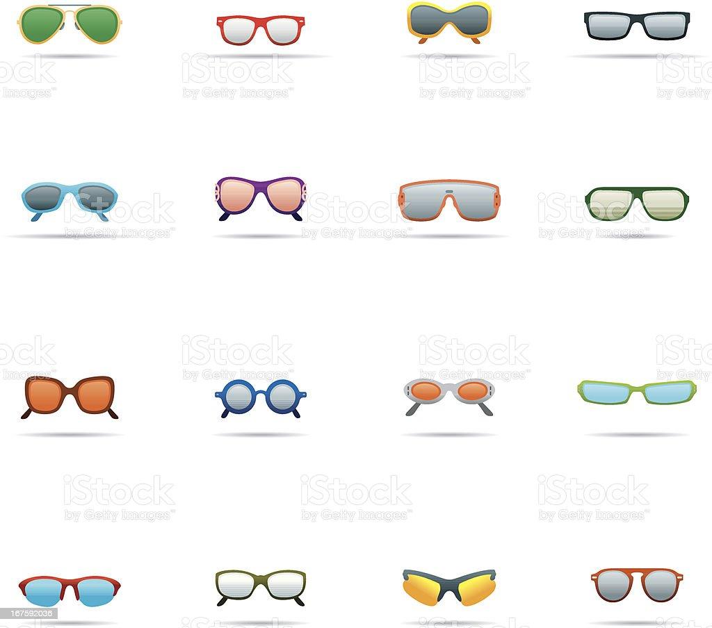 Icon Set, Sunglasses Color vector art illustration