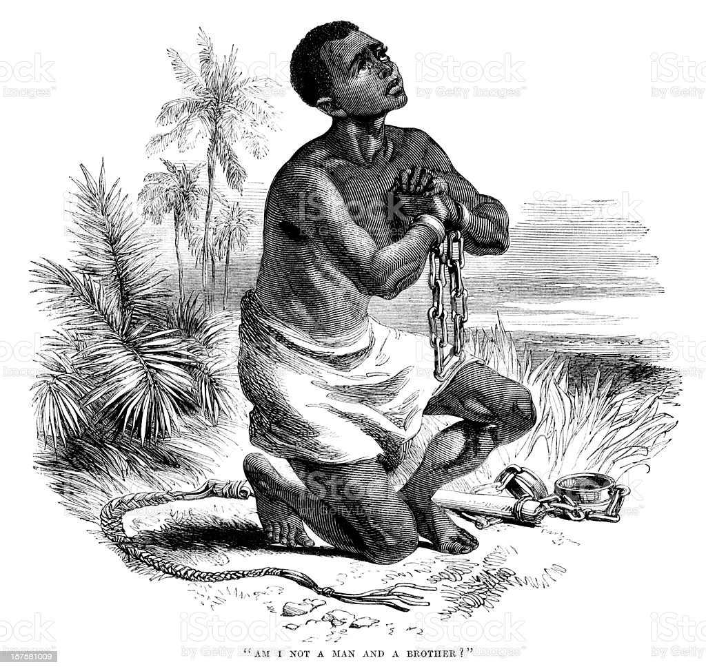 Iconic anti-slavery image of slave in shackles (1875 illustration) vector art illustration