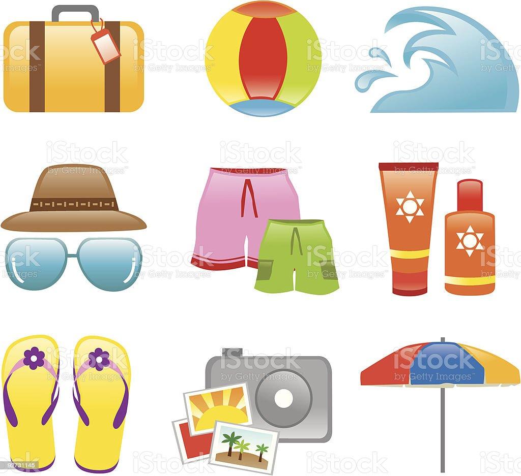 Icons Beach Holiday royalty-free stock vector art