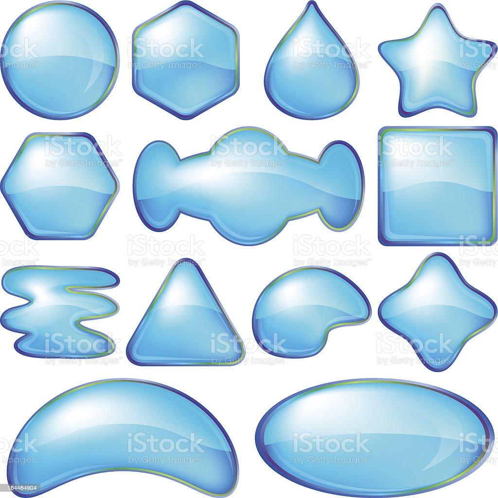 Icons buttons blue, set royalty-free stock vector art