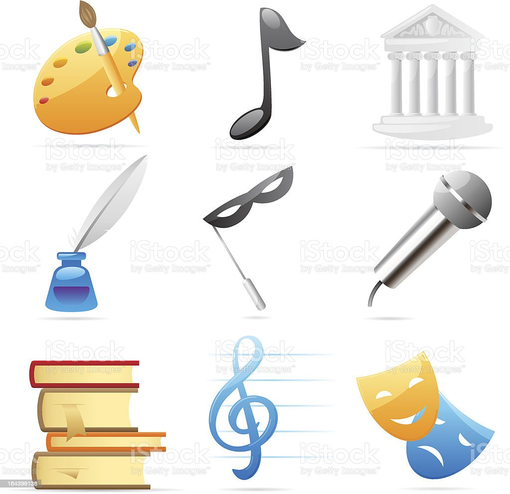 Icons for arts royalty-free stock vector art