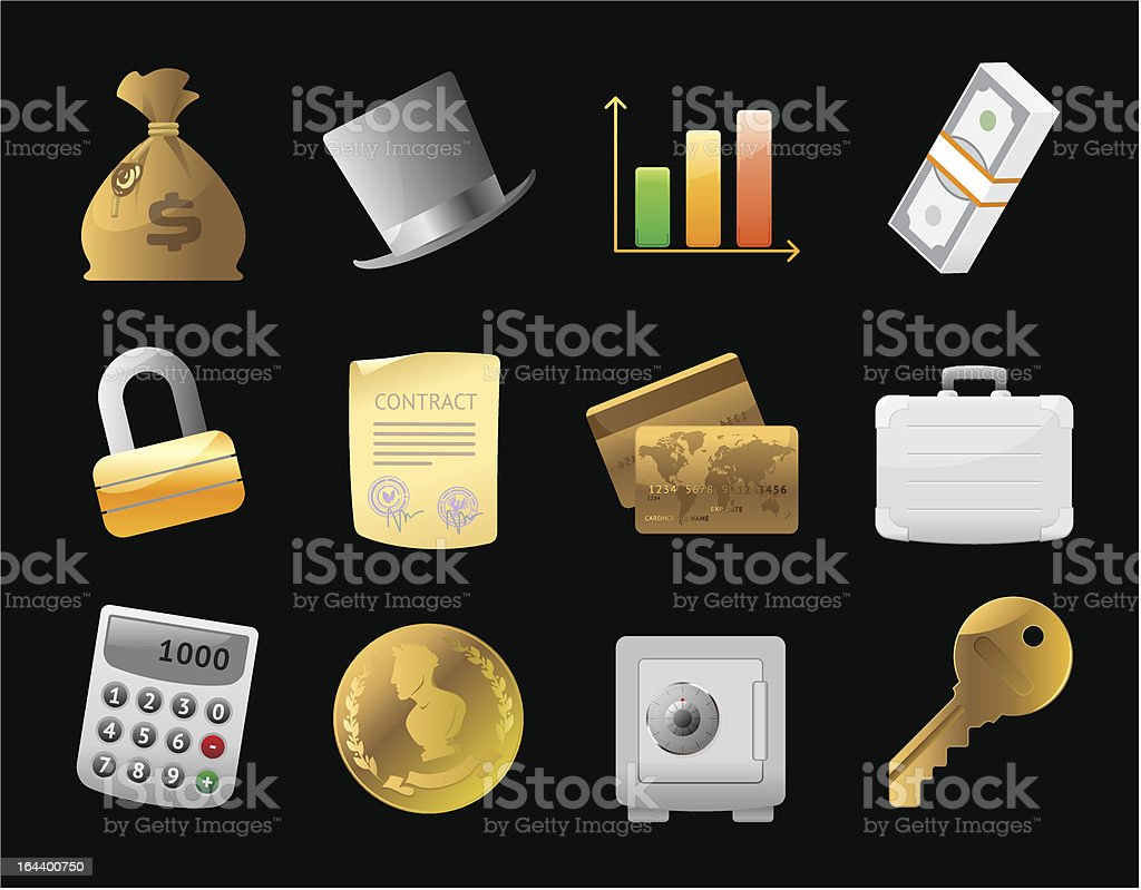 Icons for  finance, money and security vector art illustration