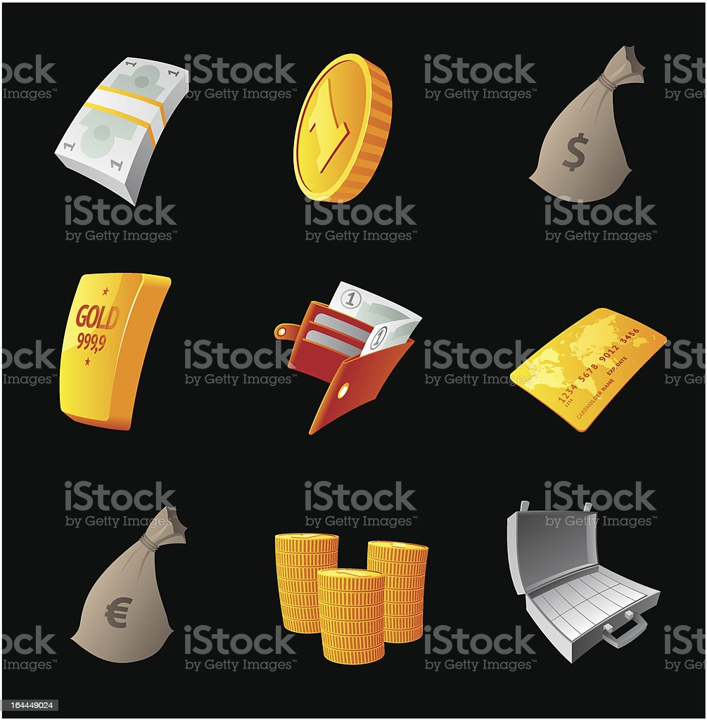 Icons for money royalty-free stock vector art