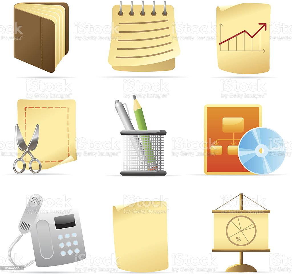 Icons for office and stationery royalty-free stock vector art