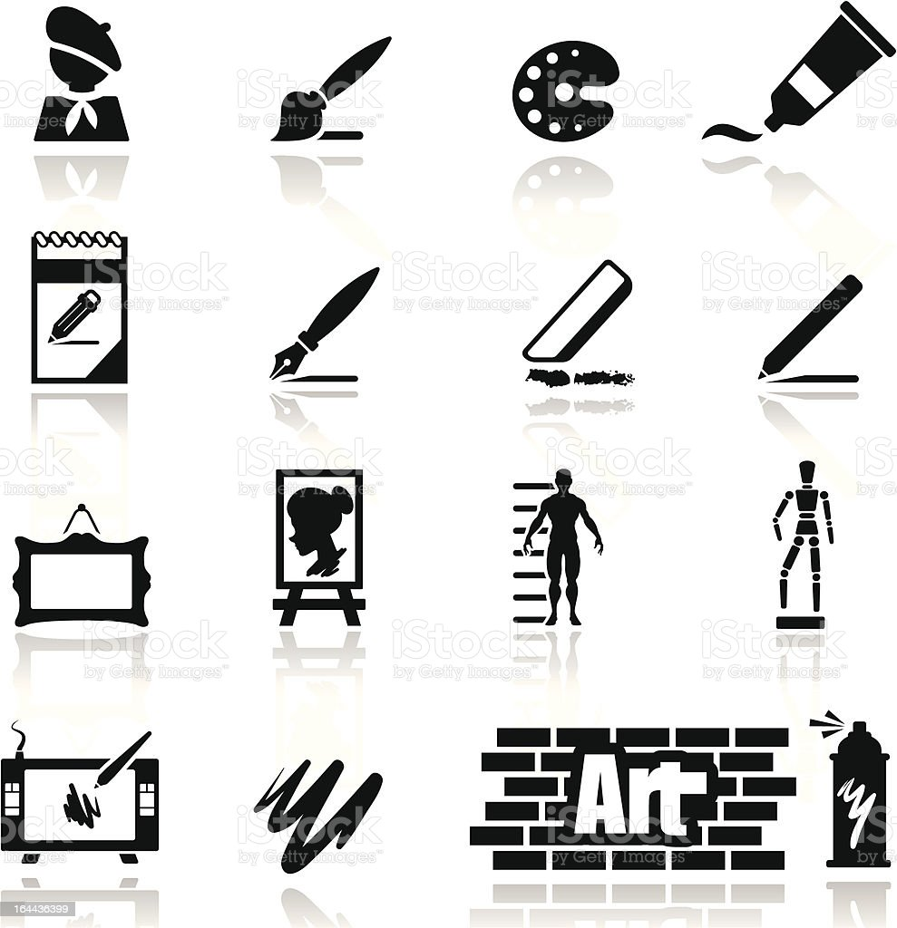 Icons set arts vector art illustration