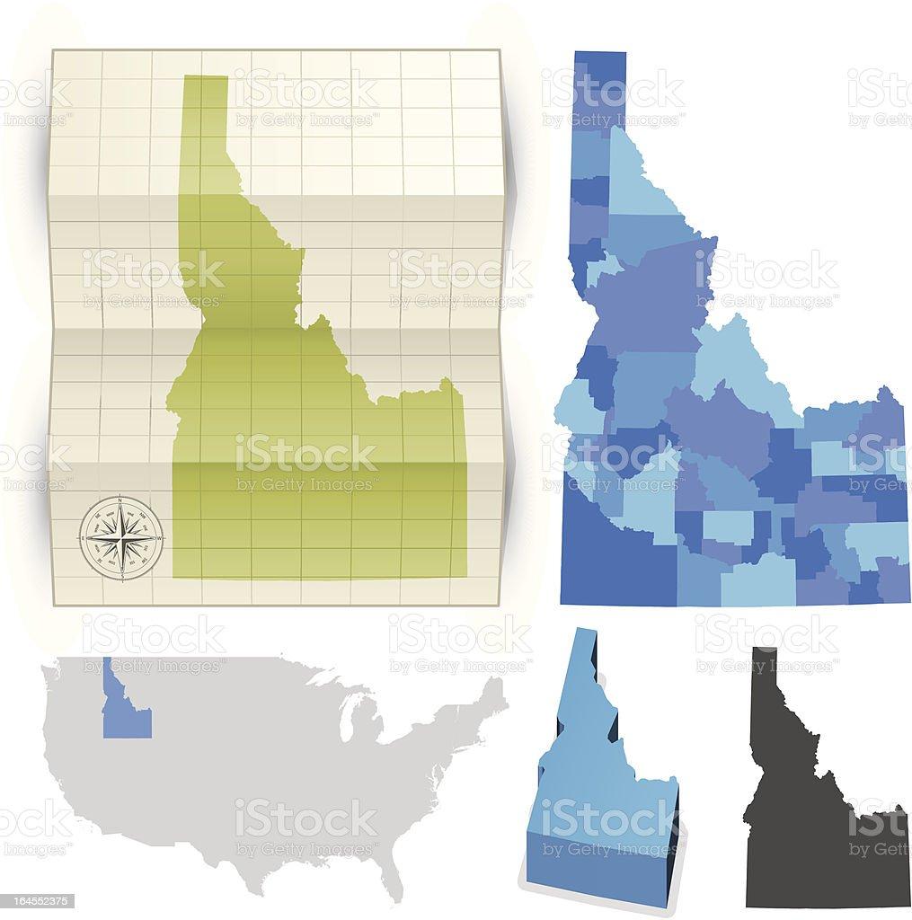 Idaho state map royalty-free stock vector art