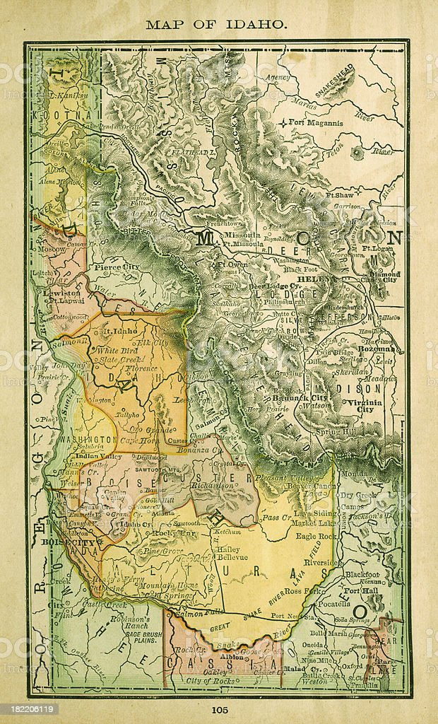 Idaho | USA Antique Maps High Resolution vector art illustration