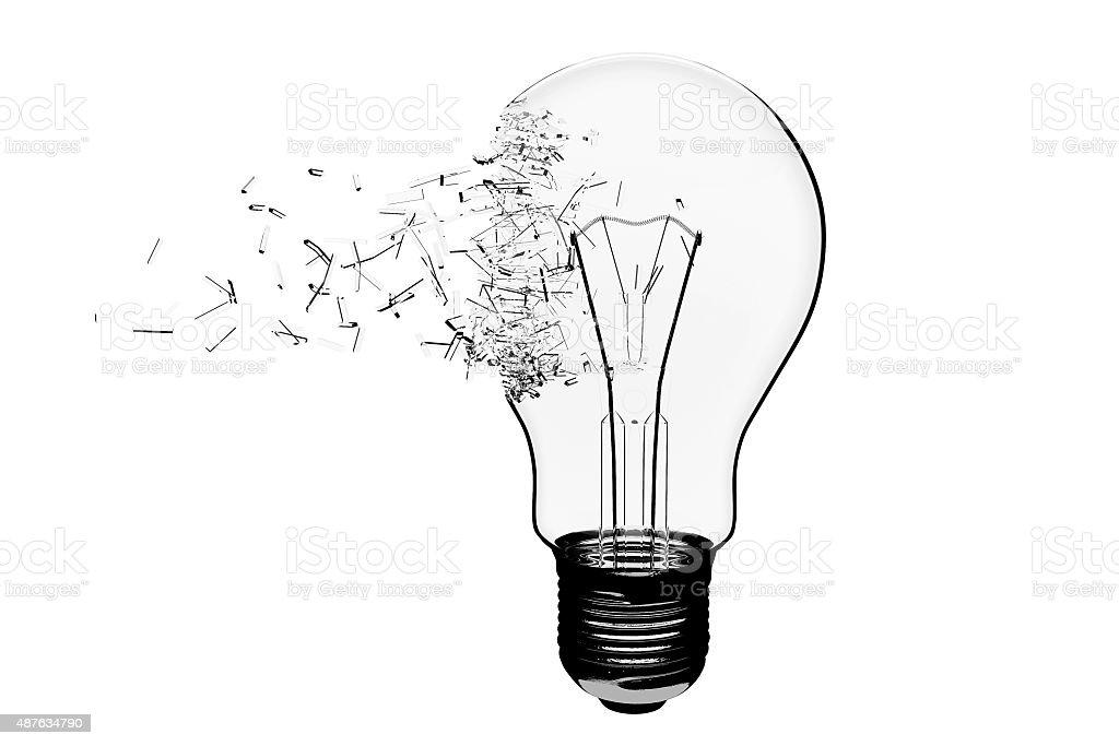 Idea Concept. Light Bulb Exploding vector art illustration