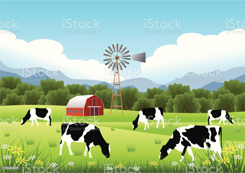 Idyllic Farm Scene royalty-free stock vector art