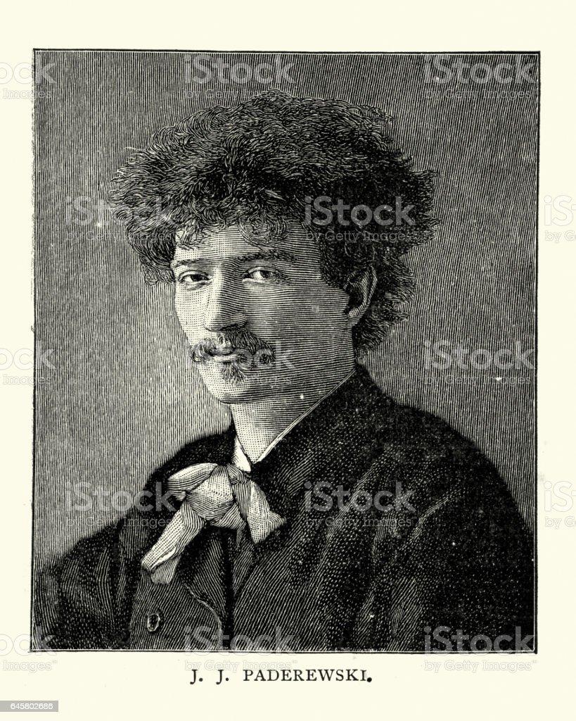 Ignacy Jan Paderewski vector art illustration