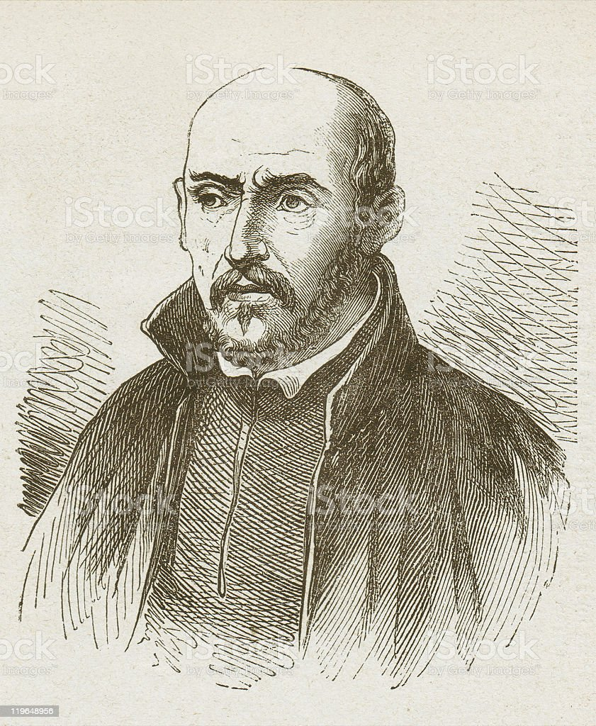 Ignatius of Loyola (1491-1556), wood engraving, published in 1877 vector art illustration
