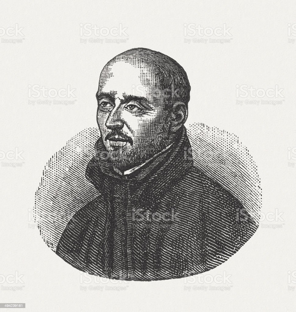 Ignatius of Loyola (1491-1556), wood engraving, published in 1881 stock photo